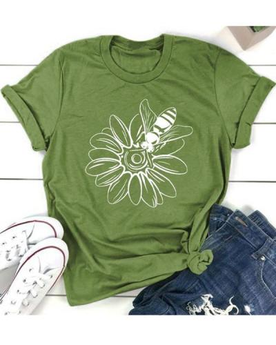Sunflower Bee Printed Pattern Casual T-shirt