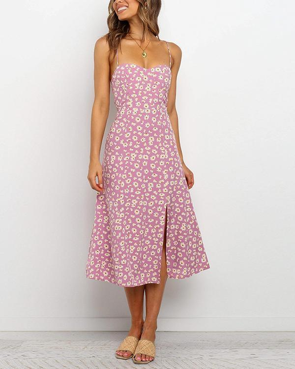 Strap Sexy Fashion Floral Backless Dress