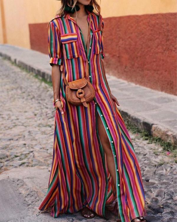 Shawl Collar Women Summer Dress A-line Daytime Half Sleeve Elegant Dress