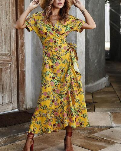 Floral Print Short Sleeve Cross Lace-up Waist Elegant Ladies Dresses