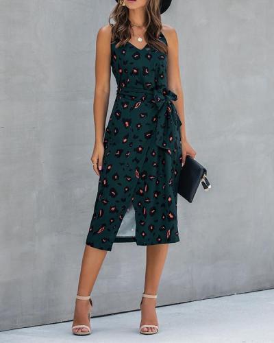 V Neck Printed Split Dress
