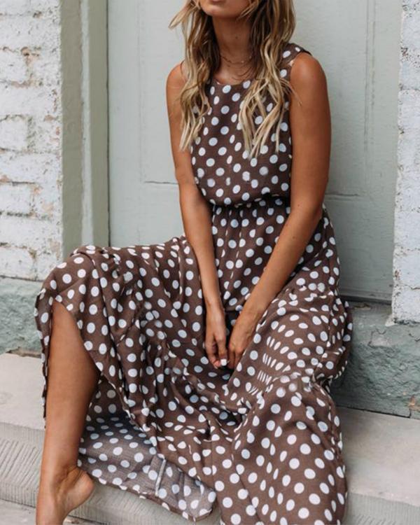 Round Neck Polka Dots Sleeveless Casual Dresses