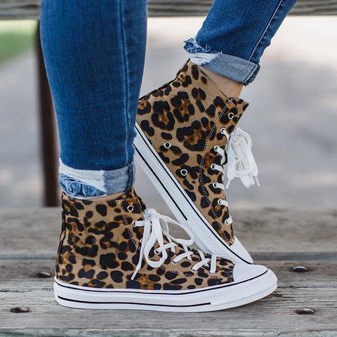 Women Lepard High Top Sneaker