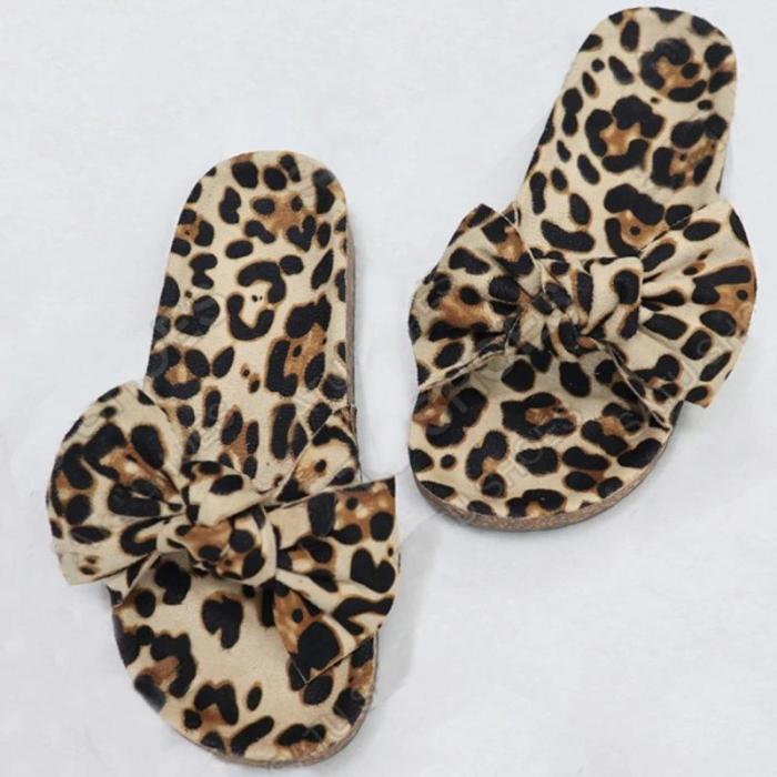 Artificial suede leopard flat heel open toe bow slippers