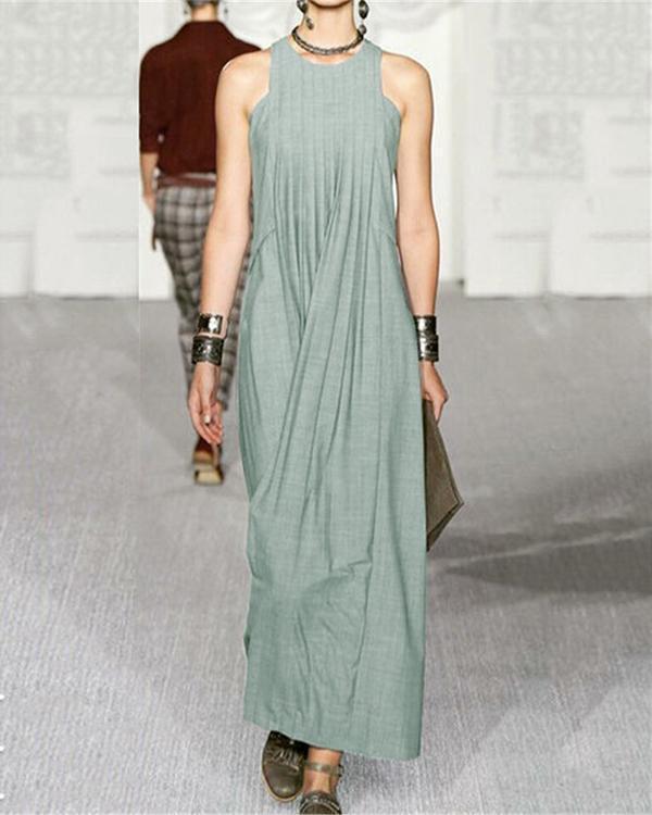 Fashion Solid Color Crew Neck Sleeveless Maxi Dress