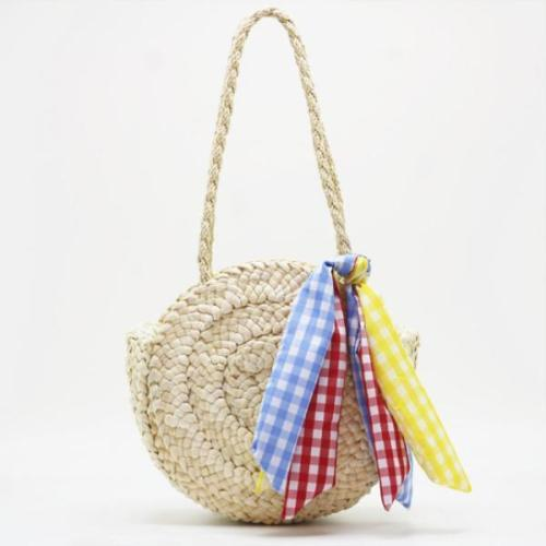 Women's Colorful Ribbon Beach Straw Handbag