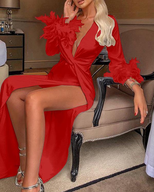 Neck Sexy Long Sleeve Maxi Dresses