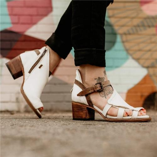 Roman Style Chunky Heel Sandals