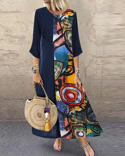 Casual Printed 3/4 Sleeves Paneled Maxi Dress