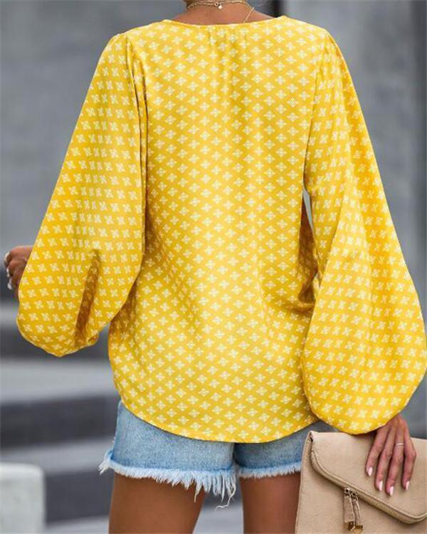 V Neck Lantern Sleeve Women Holiday Daily Blouse