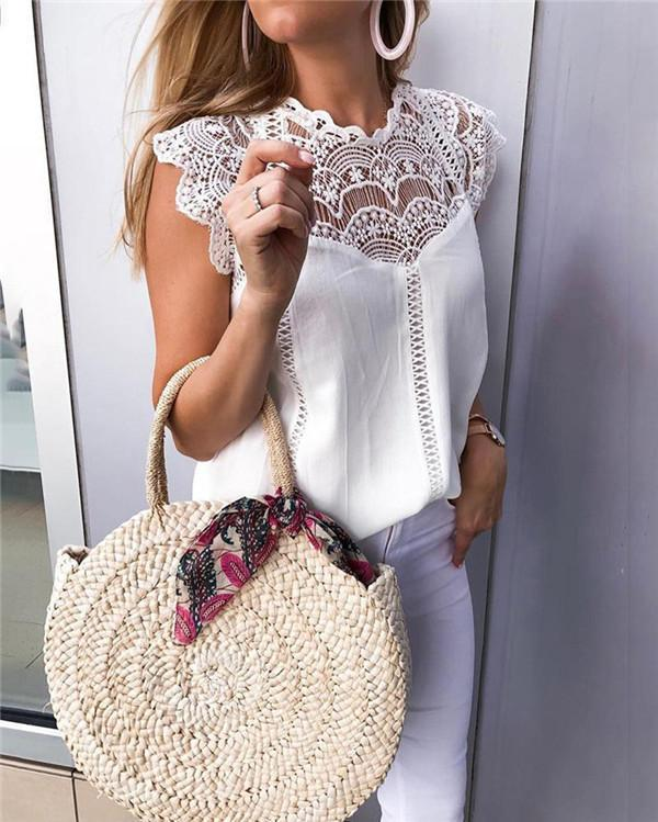 Women Solid Lace Patchwork Sleeveless Tops And Blouses