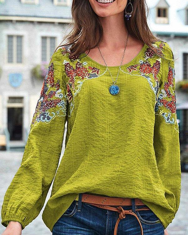 Vintage Embroidery Floral Long Sleeve Casual Blouse Tops
