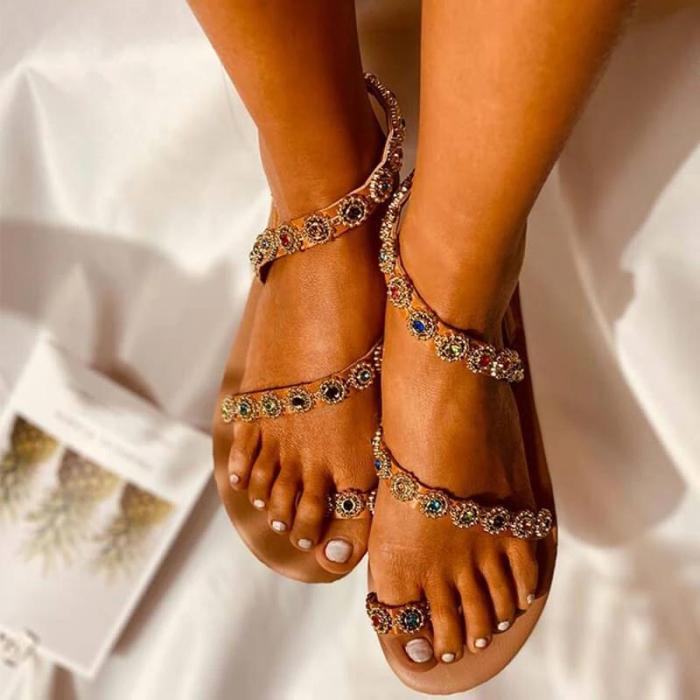 Women Large Size Summer Rhinestone Flat Sandals
