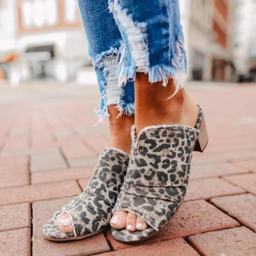 Denim Cloth Chunky Heel Sandals Mules Slippers