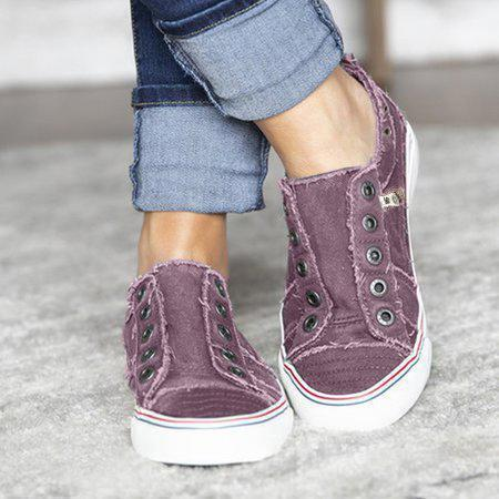 Women Zipper Daily Canvas Slip-on Athletic Sneakers