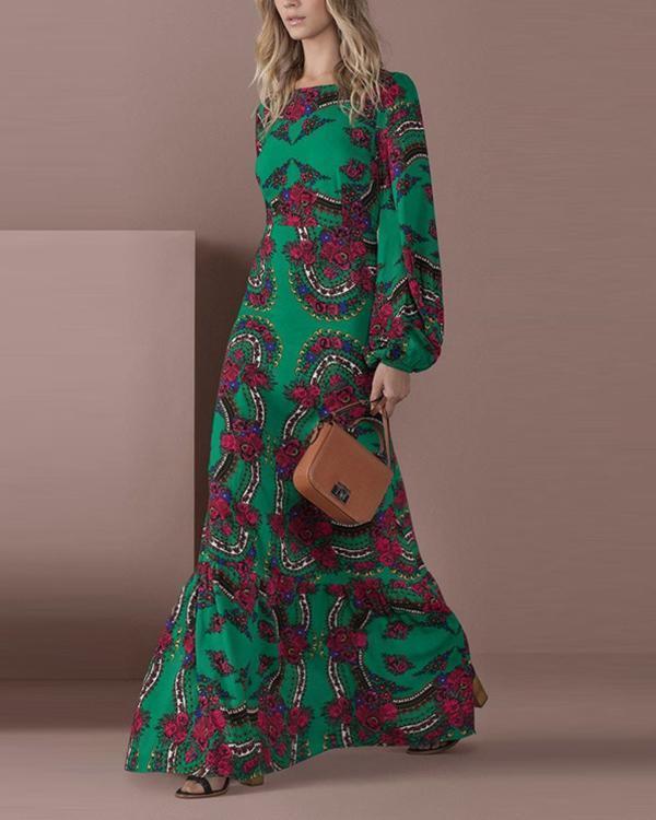 Fashion Round Collar Printed Lantern Sleeve Maxi Dress