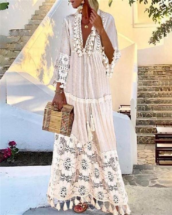 Elegant Bohemian Lace Holiday V Neck Maxi Dress