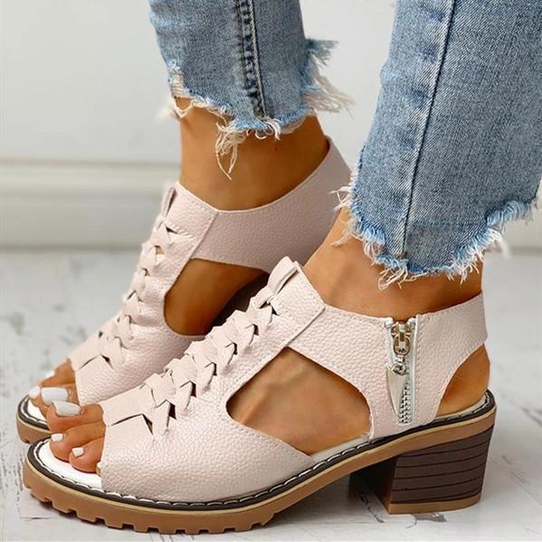 Women's PU Chunky Heel Peep Toe With Zipper Sandals