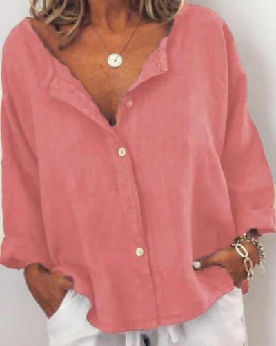 Casual Solid V Neck Long Sleeve Buttoned Blouses Tops