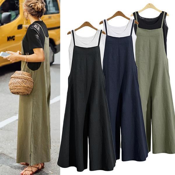 Women Casual Pure Color Loose Linen Tank Jumpsuit