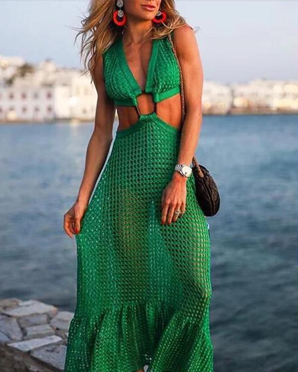 Summer Sexy V-neck Green Solid Dresses
