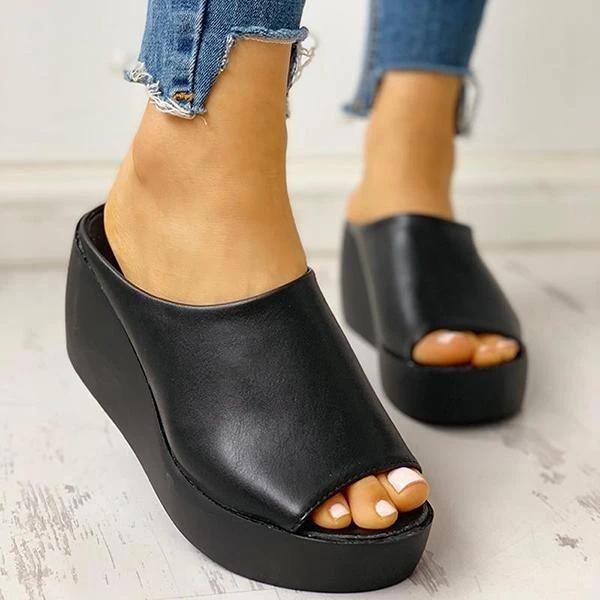Peep Toe Muffin Wedge Slippers