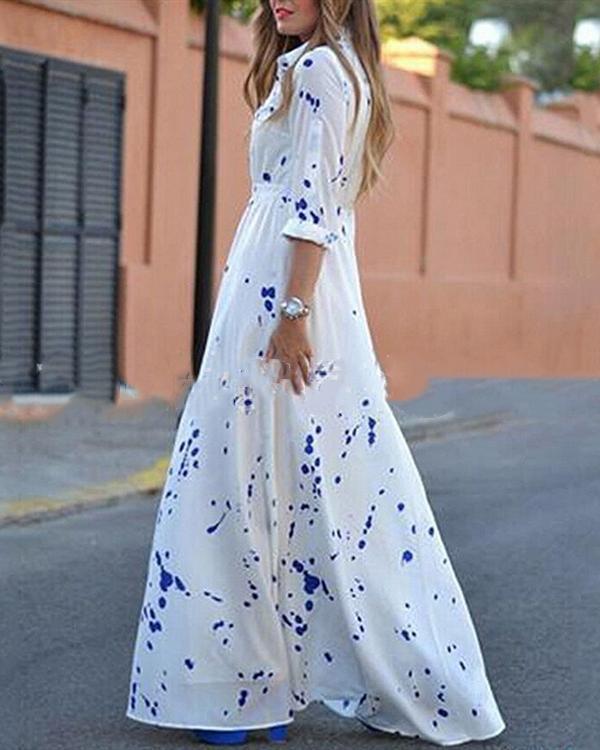 Irregular Printed Turn Down Collar Holiday Daily Fashion Maxi Dresses
