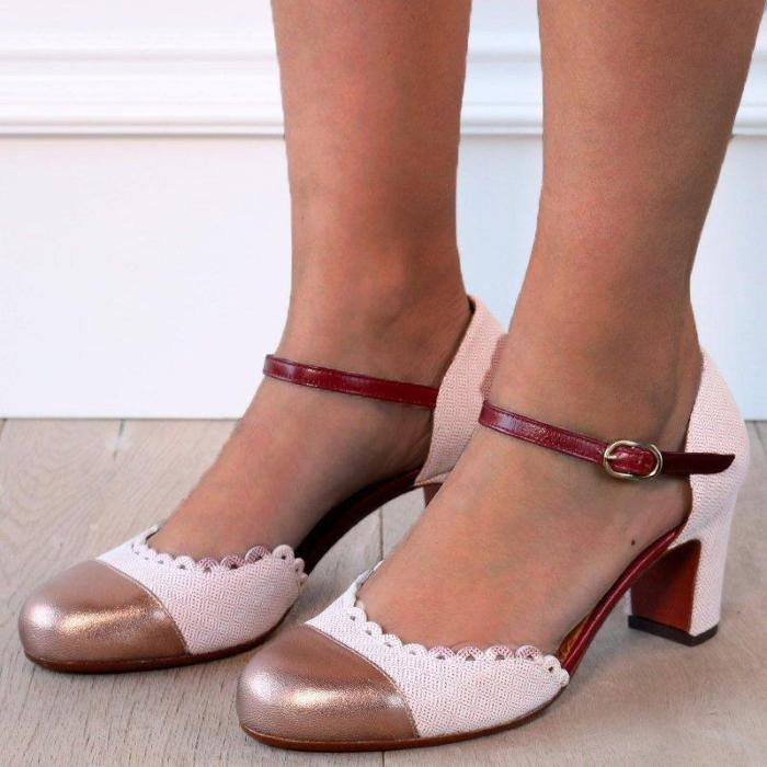 Women Fashion Chunky Heel Buckle Strap Pumps Sandals