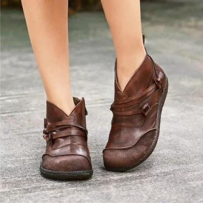 Flat Heel Spring Casual Pu Leather Boots