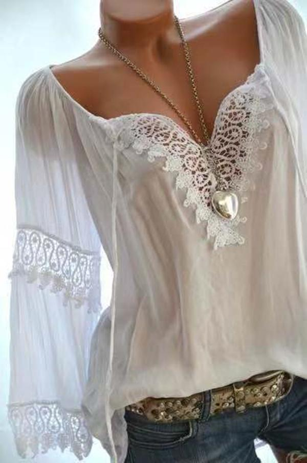 Women Casual Long Sleeve Off Shoulder Lace Plus Size Blouses Tops