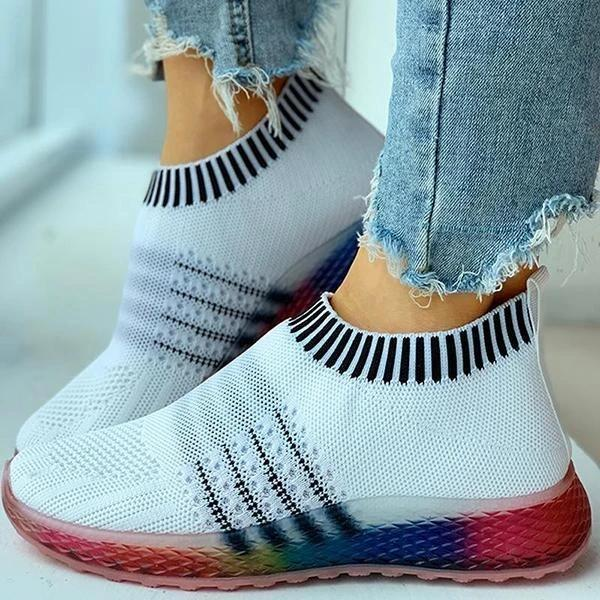 Colored Bottom Striped Breathable Casual Sneakers