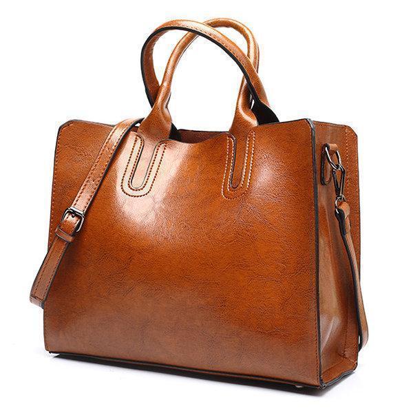 Vintage Oil Wax PU Leather Handbag