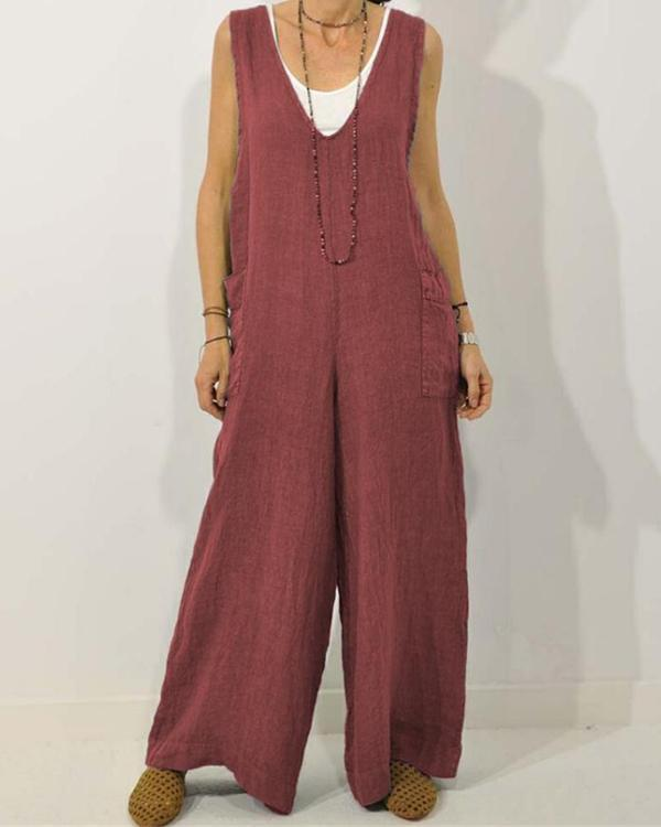 Women Casual Cotton V Neck Sleeveless Solid Jumpsuit