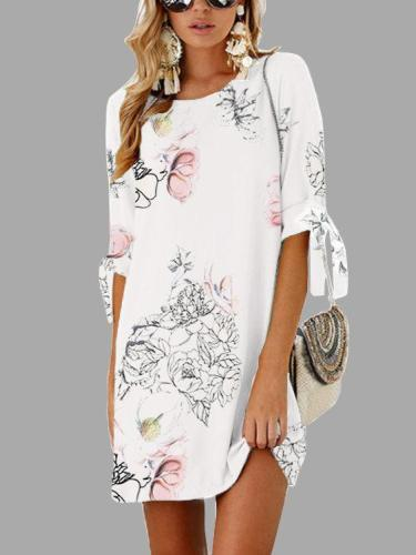 Random Floral Print Self-tie at Sleeves Mini Dresses