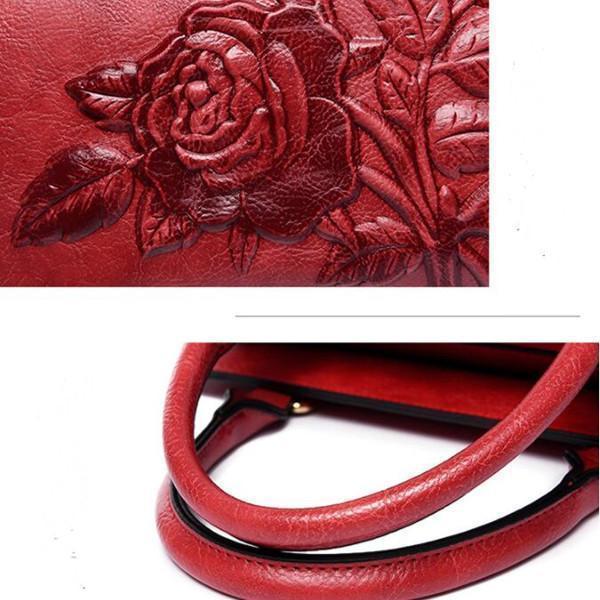 Rose Embroidery Tote Handbag Crossbody Bag
