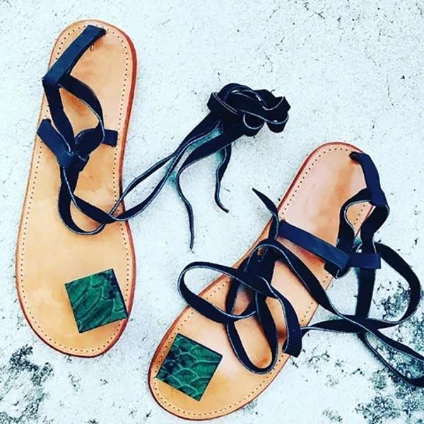 Women Lace-Up Flip-flops Flat Women Summer Sandals