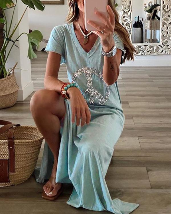 Graffiti Printed Casual Short Sleeve V-neck Maxi Dress