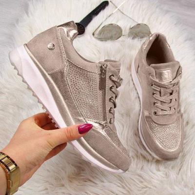 Women's Low Heel Lace Up Sneakers