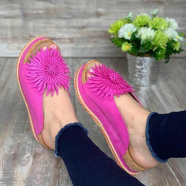Summer Elegant Flower Slip On Slippers Sandals