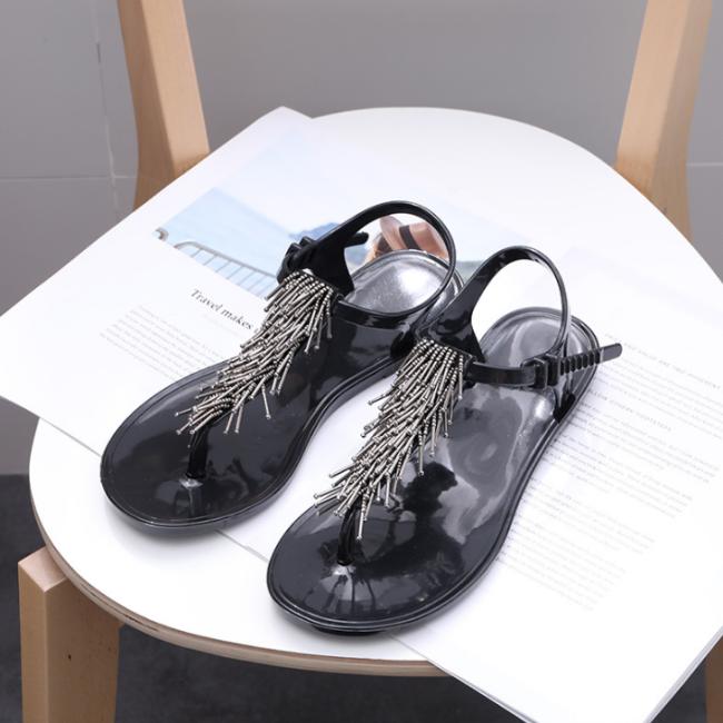 2020 Women Summer Modern Buckle Tassel Open Toe Pinch Flat Sandal