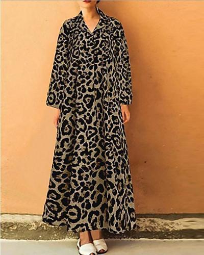 Women's Elegant Shift Leopard Printed Maxi Dress