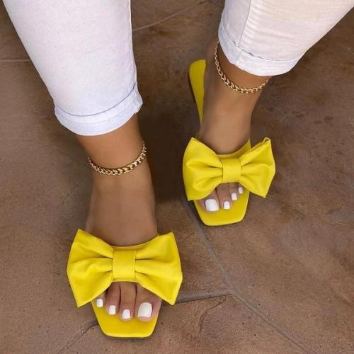 Flip Flop Block Heel Slip-On Bow Plain Slippers
