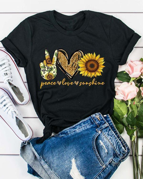 Sunflower Printed O-Neck Shirts