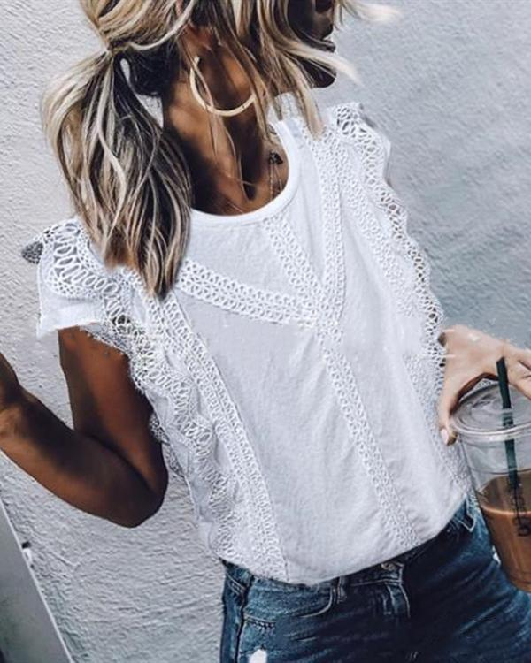 Elegant Short Sleeve Hollow Out See-Through Crew Neck Tops