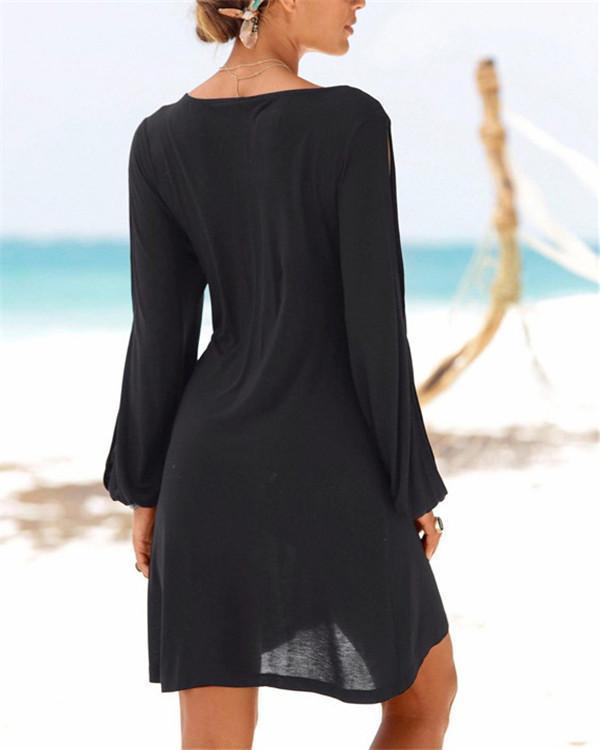 Sexy Solid Long Sleeve U Neck Solid Mini Dress
