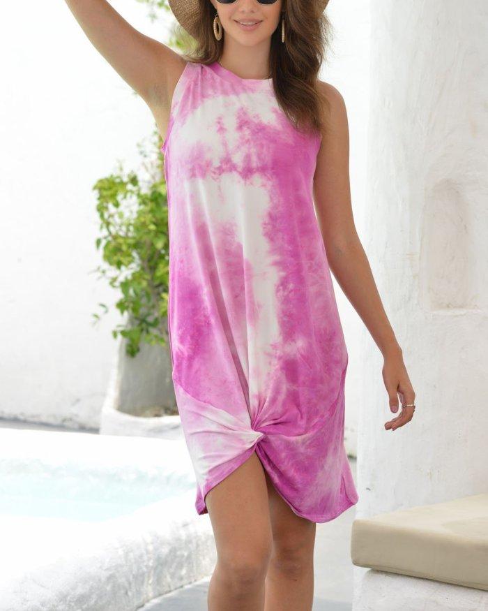 Round Neck Sleeveless Tie-dye Dress