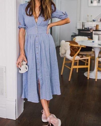 V Neck Basic Frill Sleeve Summer Maxi Dresses