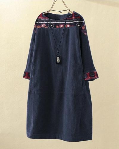 Corduroy Ethnic Print Patchwork Vintage Long Sleeve Mini Dress