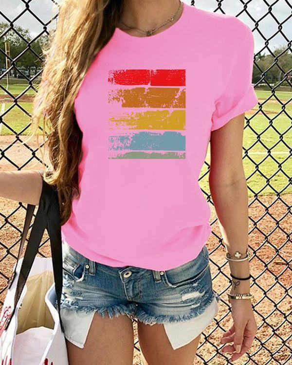 Vintage Multicolor Printed Plus Size Short Sleeve Casual Tops
