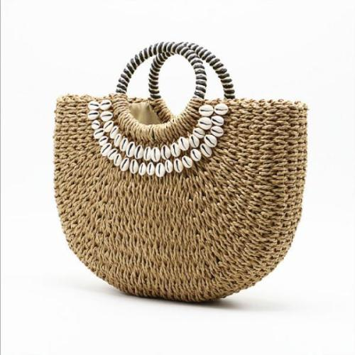 Women's Handmade Shell Straw Handbag